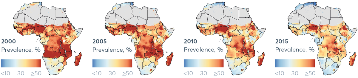 FIGURE 2.10C Prevalence of moderate and severe stunting, 2000–2015