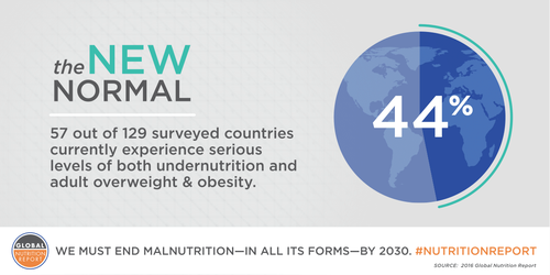 "Graphical data banner depicting percentage of countries experiencing serious levels of both undernutrition and adult obesity: ""44%: the new normal - 57 out of 129 surveyed countries experiencing serious levels of both undernutrition and adult obesity. Source: 2016 Global Nutrition Report"