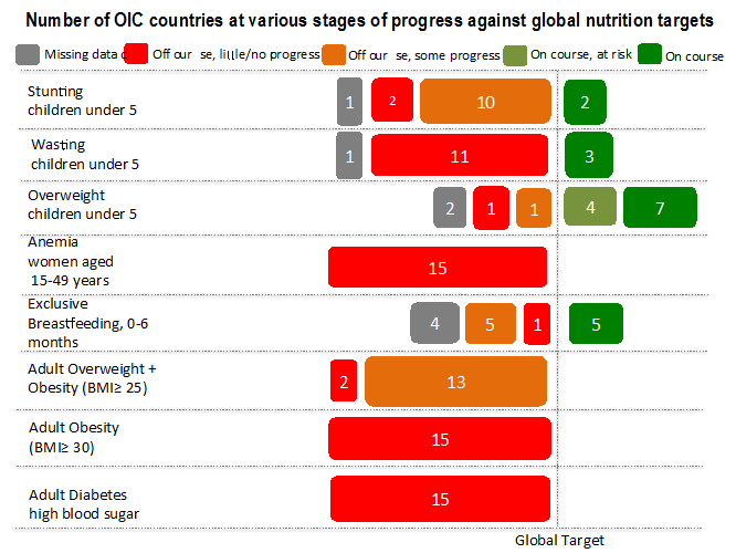 Number of OIC countries at various stages of progress against global nutrition targets.